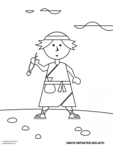 Coloring Sheet - David Defeated Goliath
